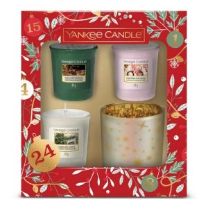 Yankee Candle 3 Votive Candle & Votive Holder Gift Set - Countdown to Christmas